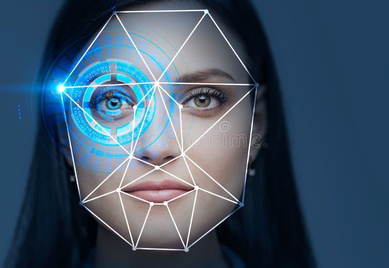 Härligt kvinnahuvud, teknologi för framsidaerkännande stock illustrationer