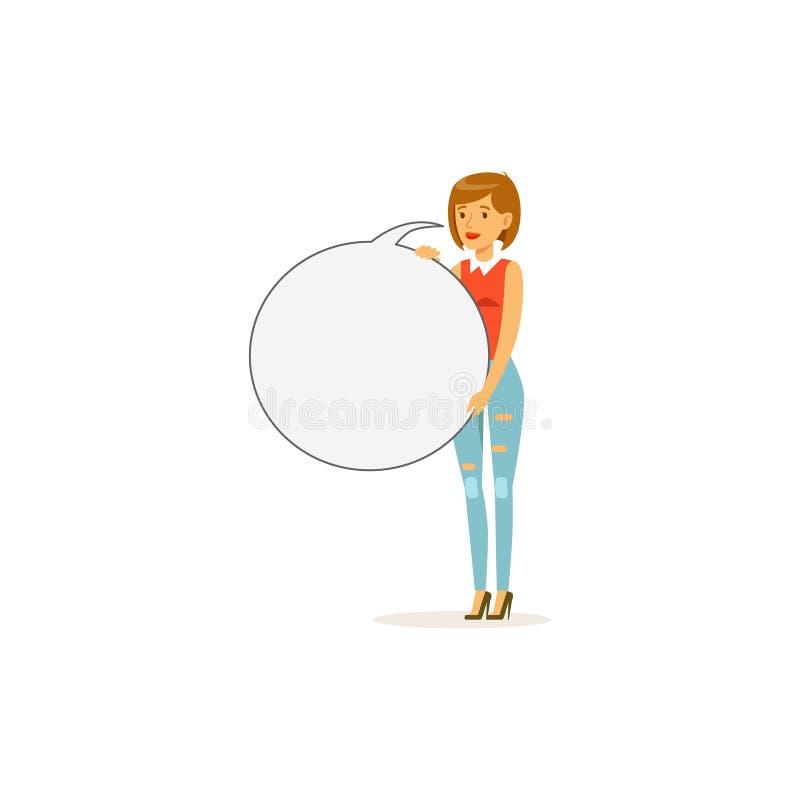 Härligt kvinnatecken med den tomma runda anslagstavlan, illustration för anförandebubblavektor royaltyfri illustrationer