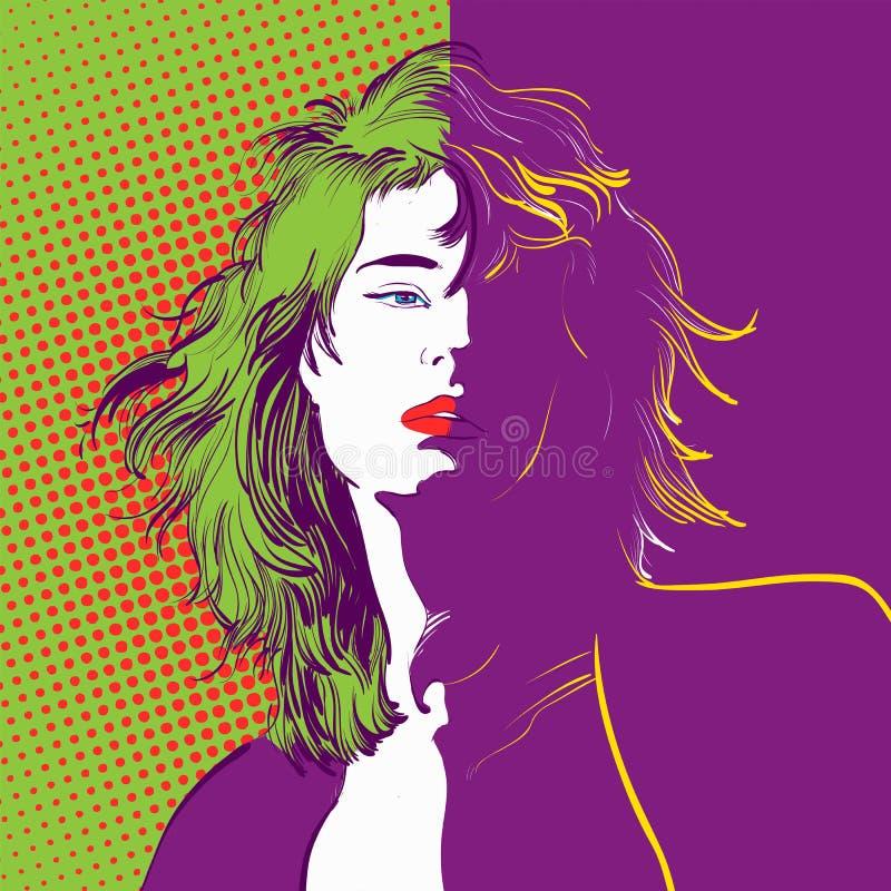 Härligt kvinnligt tecken Femme fatale Vägggarnering royaltyfri illustrationer