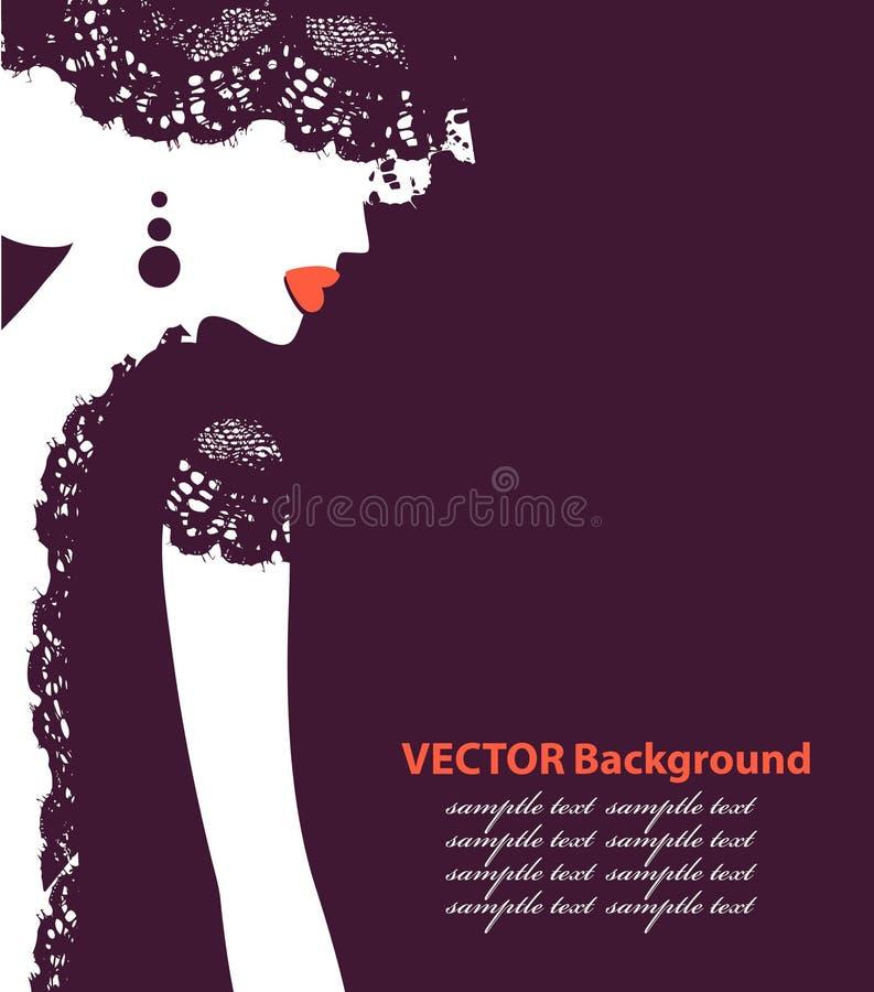 Härligt kvinnligt vänder mot silhouetten profilerar in Bröllopvektordesign vektor illustrationer