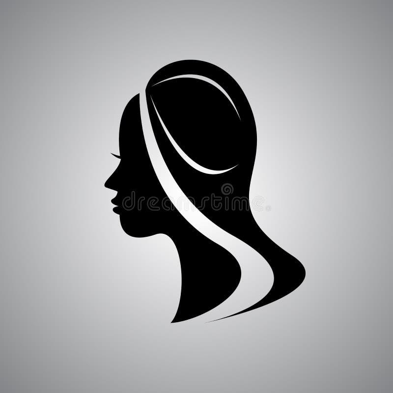 Härligt kvinnligt vänder mot silhouetten profilerar in Retro frisyr, babette stock illustrationer