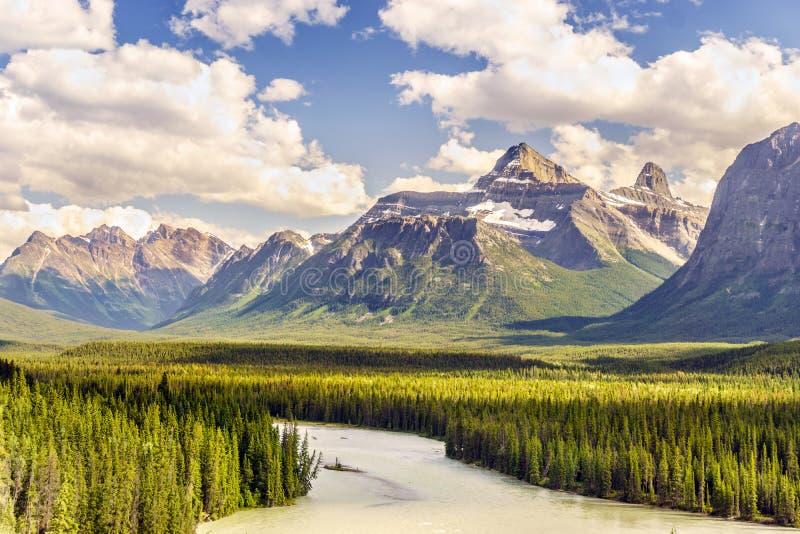 Härligt landskap av berg och den Athabasca floden i jaspis N arkivbild