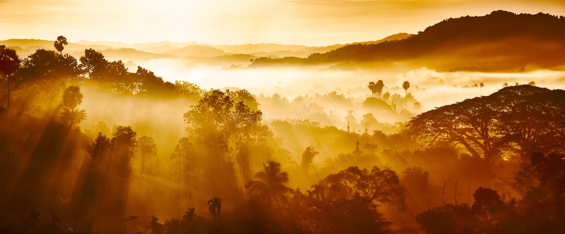 Härligt landskap av berg och rainforesten i ottasolstrålar och dimma i Myanmar royaltyfria foton