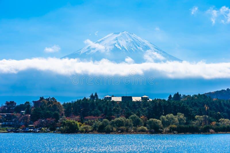 Härligt landskap av berget fuji med lönnlövträdet runt om sjön royaltyfri foto