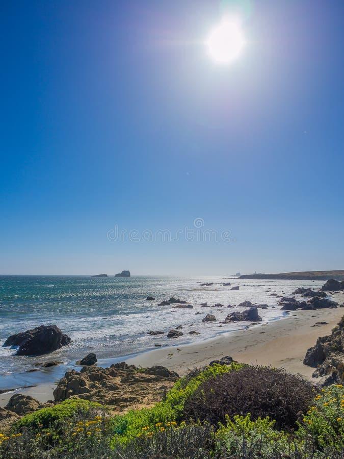 Härligt landskap av den Stillahavs- kustlinjen, stora Sur royaltyfri bild
