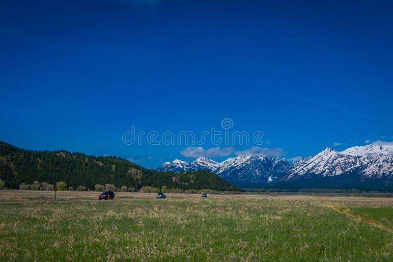 Härligt landskap av det storslagna Tetons området och maxima som lokaliseras inom den storslagna Teton nationalparken, Wyoming, m arkivbild