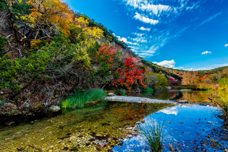 Härligt landskap av nedgånglövverk och klar liten vik på borttappade lönnar delstatspark, Texas royaltyfri foto