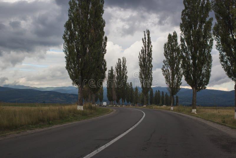Härligt landskap bygdväg till berg royaltyfri foto