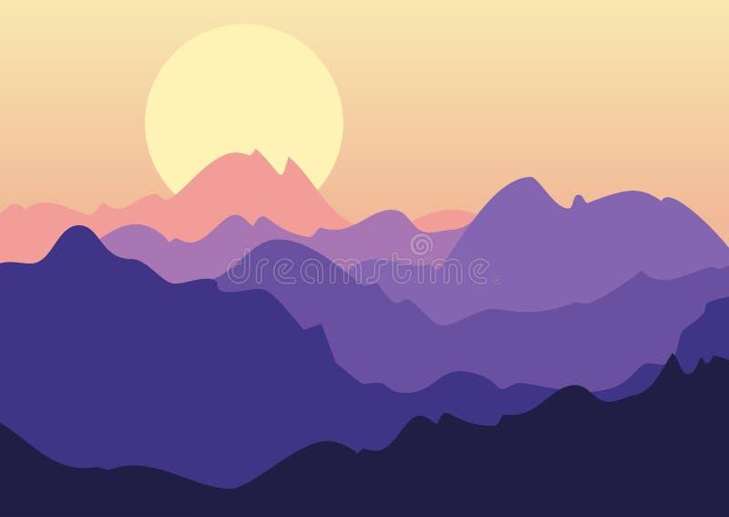 Härligt landskap för vektor, purpurfärgad solnedgång i berg Natur b vektor illustrationer