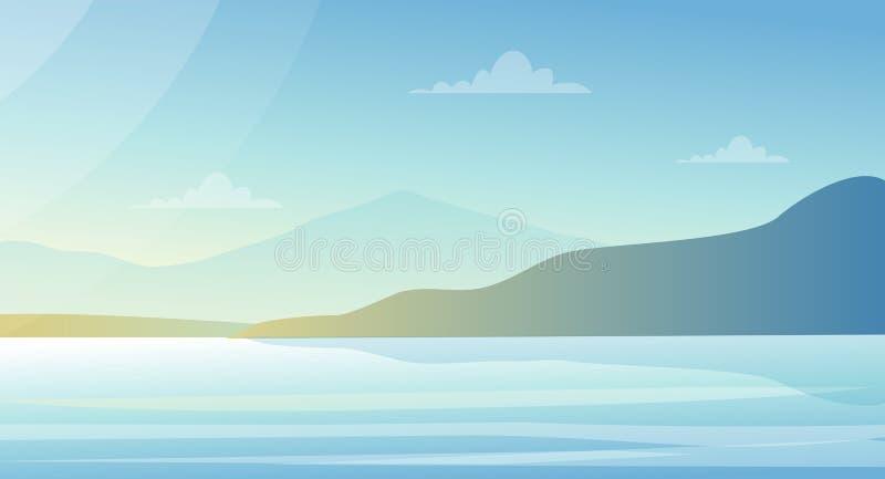 Härligt landskap för vektorillustration med sjön och berg i pastellfärgade färger Naturbakgrund, havssikt i lägenhet stock illustrationer