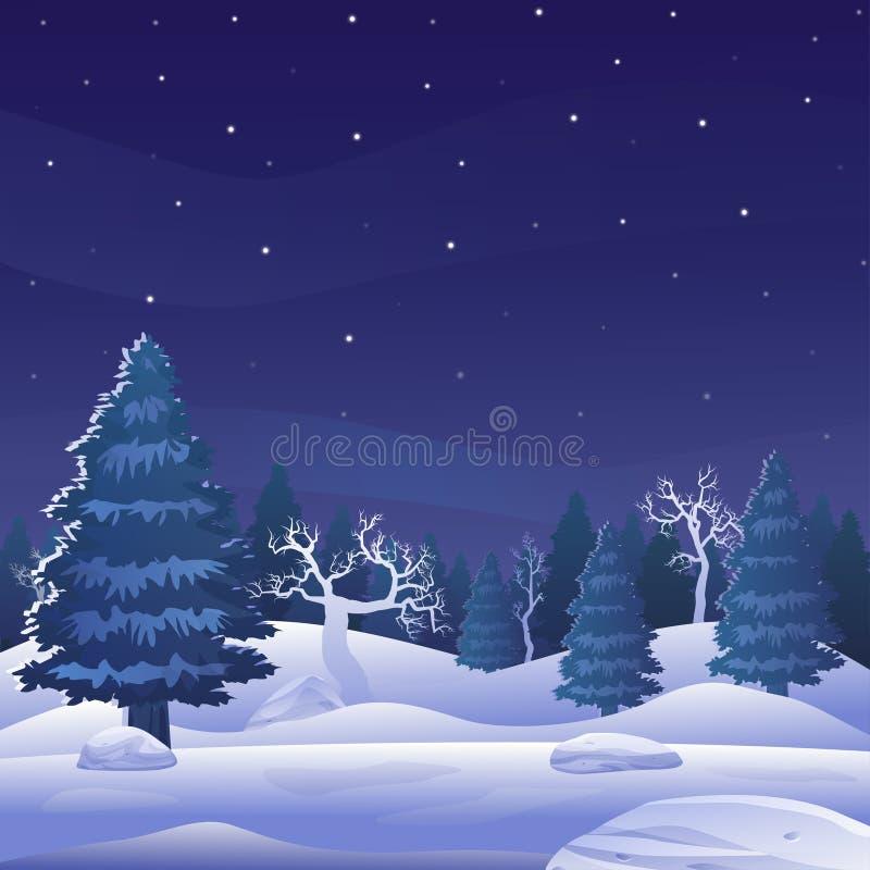 Härligt landskap för vinternattskog royaltyfri illustrationer