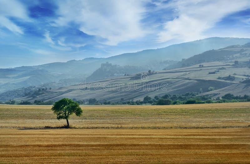 Härligt landskap i italiensk bygd med kullar och berg på bakgrund arkivfoton