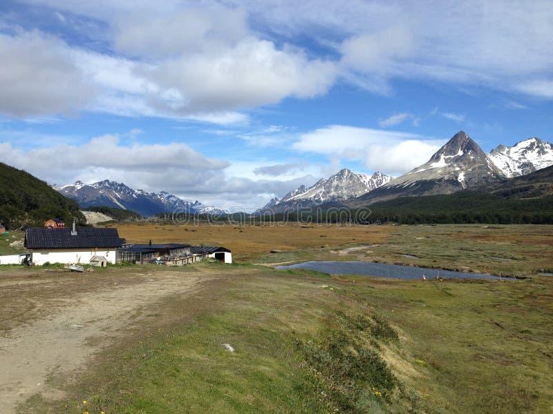 Härligt landskap i mitt av Patagonia, Argentina fotografering för bildbyråer