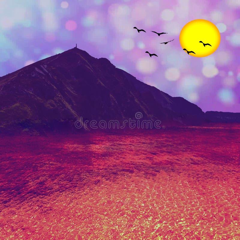 Härligt landskap och berg stock illustrationer