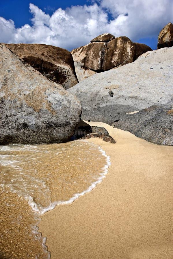 Härligt landskap på en strand i Tortola royaltyfria foton