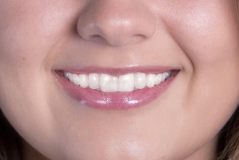 Härligt leende med perfekta tänder royaltyfri foto