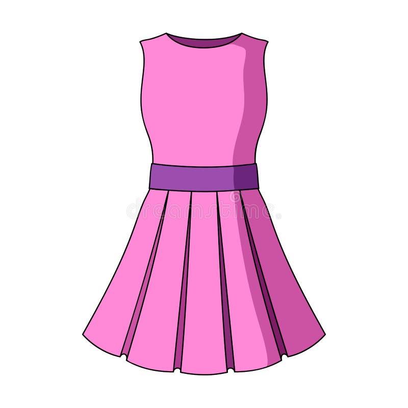Härligt ljus - rosa sommarklänning utan muffar Kläder för en vandring till stranden Kvinnor som beklär den enkla symbolen royaltyfri illustrationer