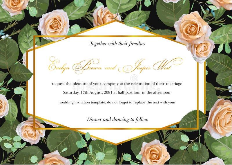 Härligt märkes- blommakort som gifta sig inbjudan, certifikat, royaltyfri illustrationer