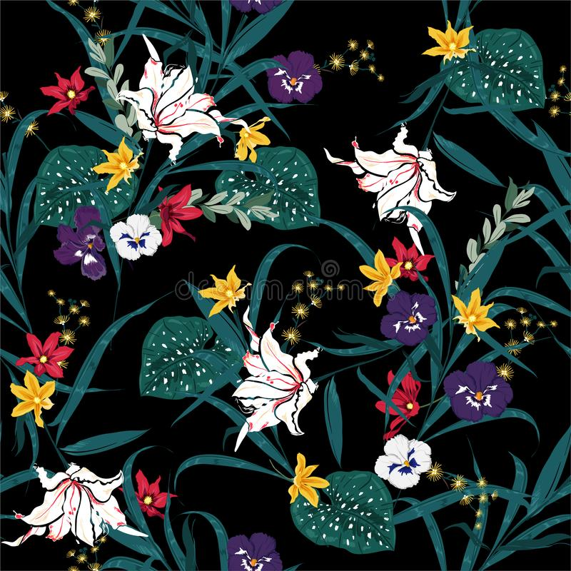 Härligt mörkt tropiskt och blomma av den sömlösa modellen för botaniska växter med exotiska blommor och sidor seamless f?rgrik mo royaltyfri illustrationer