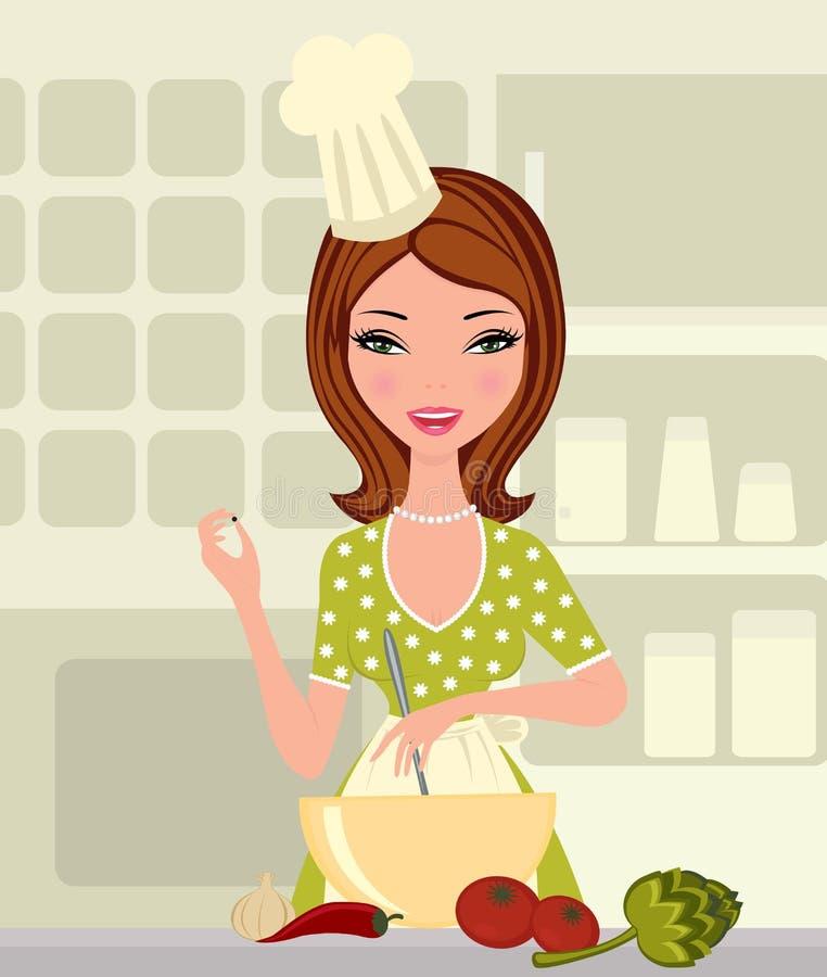 härligt matlagningkvinnabarn vektor illustrationer