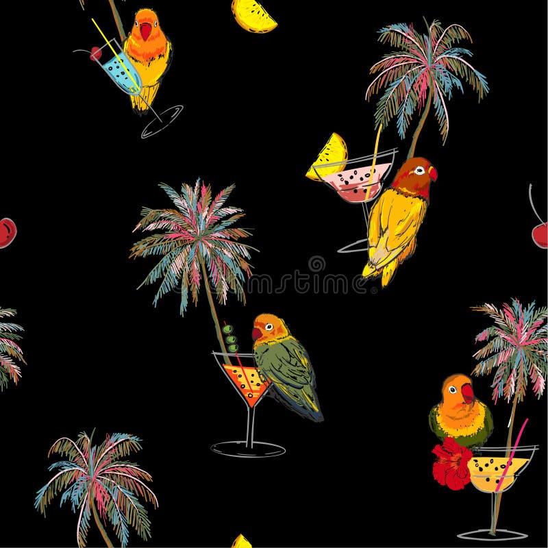 Härligt moderiktigt mörker som är tropiskt i färgrik sömlös modell Utdragna palmträd för hand, coctail, rosa papegojor fågel, som royaltyfri illustrationer