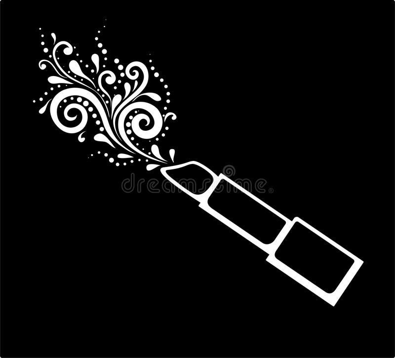 Härligt monokromt svartvitt tryck av läppstift med en isolerad blom- modell royaltyfri illustrationer