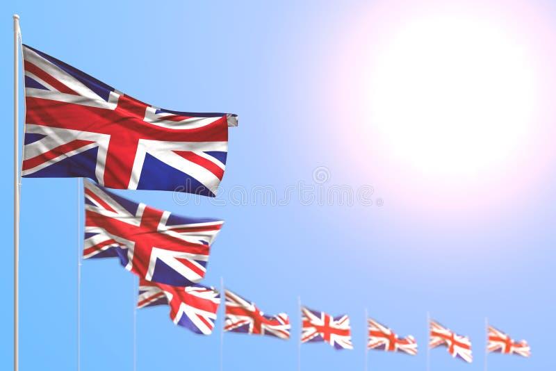 Härligt någon illustration för ferieflagga 3d - många Förenade kungariket UK flaggor förlade diagonalt med den selektiva fokusen  royaltyfri illustrationer