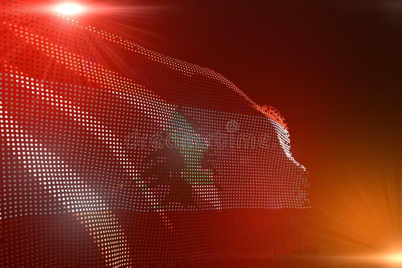 Härligt någon illustration för festmåltidflagga 3d - den ljusa bilden av den Libanon flaggan gjorde av prickar som vinkar på oran vektor illustrationer