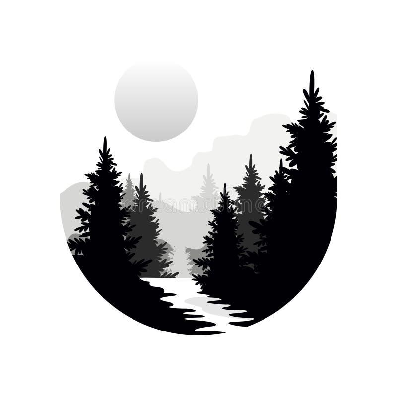 Härligt naturlandskap med konturer av skogbarrträd, berg och solen, naturlig platssymbol in stock illustrationer