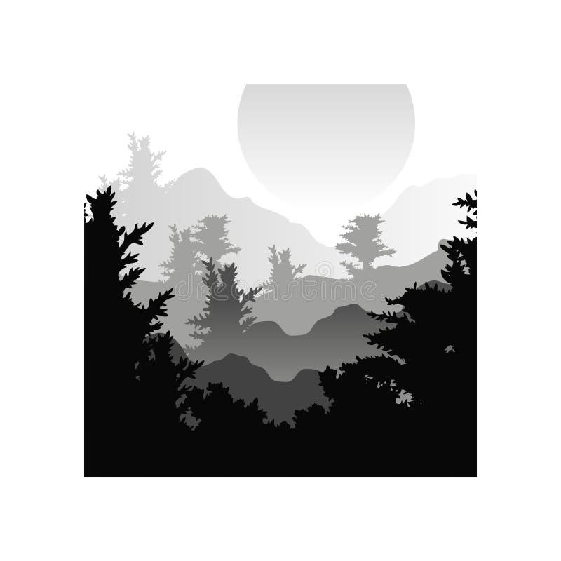 Härligt naturlandskap med konturer av skogträd, solnedgång av den stora solen, naturlig platssymbol i geometrisk fyrkant vektor illustrationer