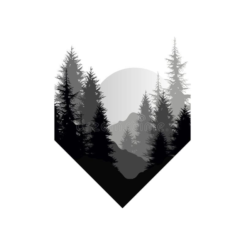 Härligt naturlandskap med konturer av träd, berg, solnedgång av den stora solen, naturlig platssymbol i geometriskt stock illustrationer
