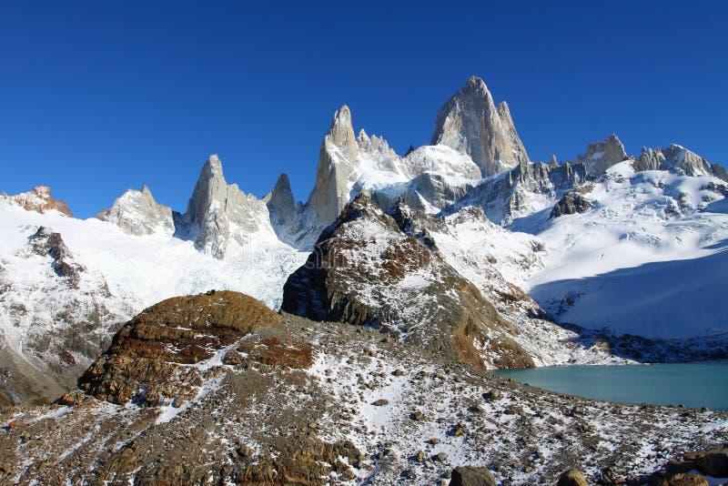 Härligt naturlandskap med Mt. Fitz Roy som sett i nationalparken för Los Glaciares, Patagonia, Argentina royaltyfri fotografi