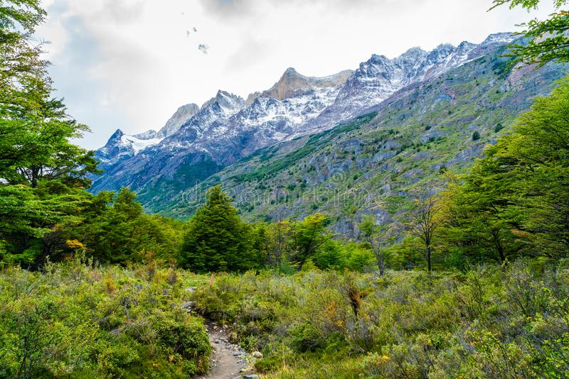 Härligt naturlandskap på den Torres del Paine nationalparken i sydlig chilensk Patagonia royaltyfri fotografi