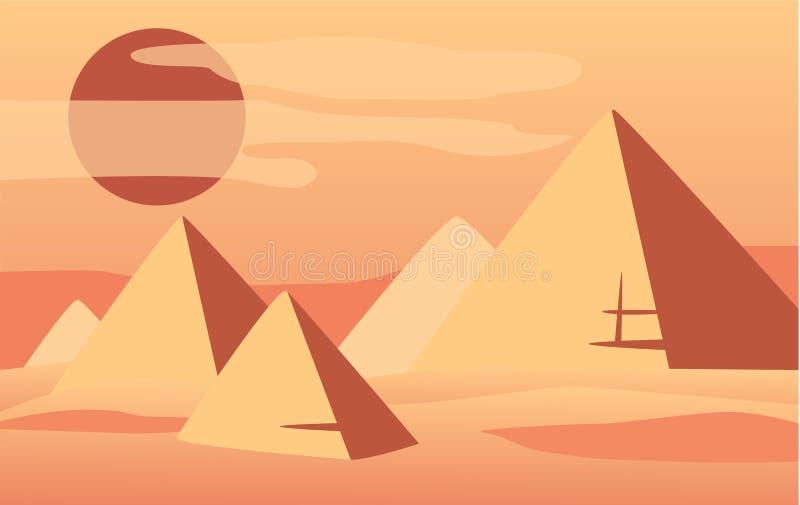 Härligt naturligt ökenlandskap, plats av naturen med pyramider och solvektorillustration royaltyfri illustrationer