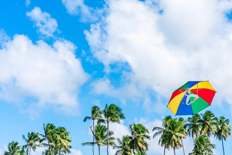 Härligt och färgrikt flyg för frevoparaplydrake i en dag för blå himmel Det är ett symbol av brasiliansk karnevalgarnering i stad royaltyfria bilder