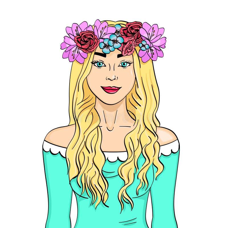 Härligt och ung flicka, blondin Krans på huvudet med buketten av blommor för objektbana för bakgrund clipping isolerad white royaltyfri illustrationer