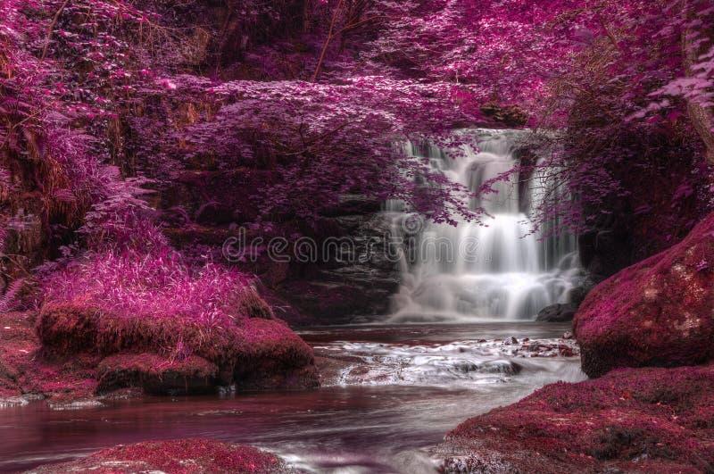 Härligt omväxlande kulört overkligt vattenfalllandskap royaltyfri foto