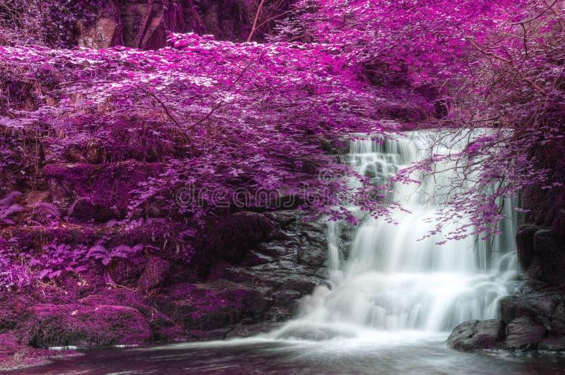 Härligt omväxlande kulört overkligt vattenfalllandskap royaltyfri fotografi