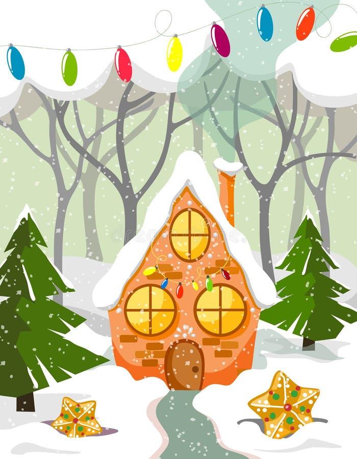 Härligt pepparkakahus i snöig felik snö med kakor, träd, gran-träd och girlander Dekorativt hus för jul royaltyfri illustrationer