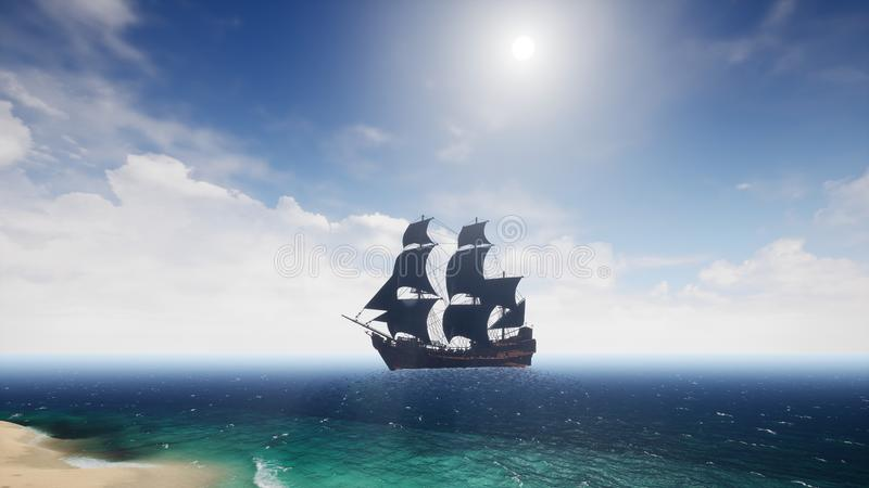 Härligt piratkopiera skeppet i havet framförande 3d stock illustrationer