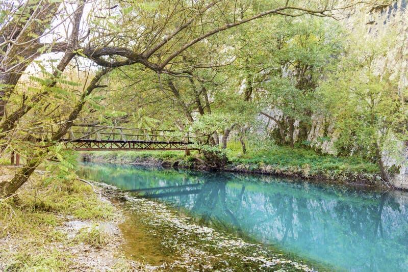 Härligt pittoreskt höstlandskap av floden i berget royaltyfri bild