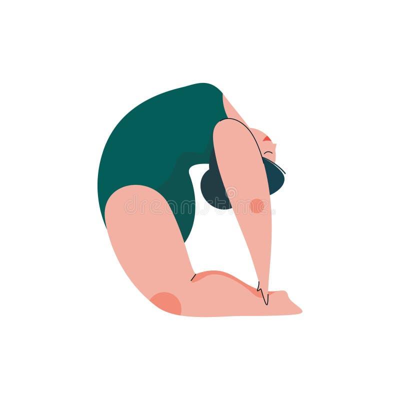 Härligt plus Curvy kvinna för format i den Ustrasana positionen, fyllig flicka i övande yoga för baddräkt, sport och sunt vektor illustrationer