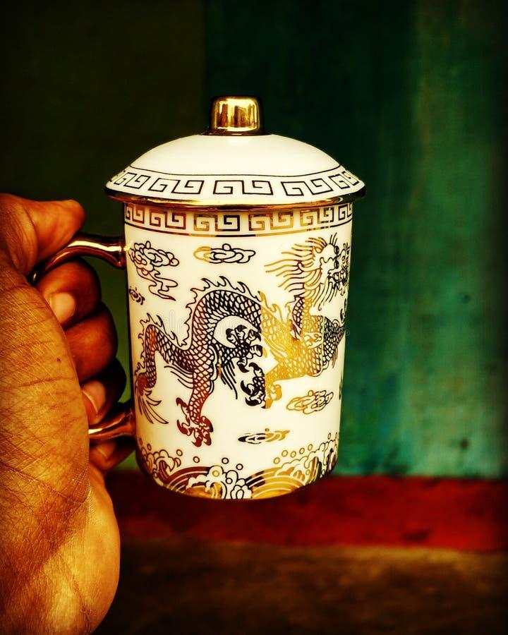 Härligt råna/koppen med Dragon Print royaltyfria bilder