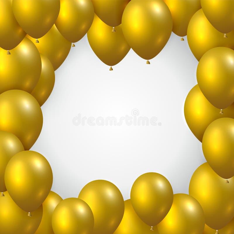 Härligt realistiskt kort för hälsning för berömvektormall med guld- flygapartiballonger på vit bakgrund vektor illustrationer