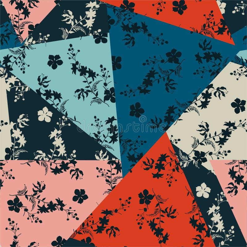 Härligt retro av den blom- patchworken för kontur i många form av den geometriska sömlösa modellvektordesignen för mode, tyg, ren royaltyfri illustrationer