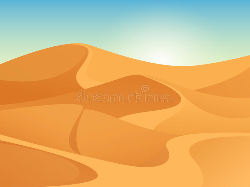 Härligt sandigt landskap av den sahara öknen Vektorbakgrund med soluppgång, gula sanddyn och blå himmel stock illustrationer