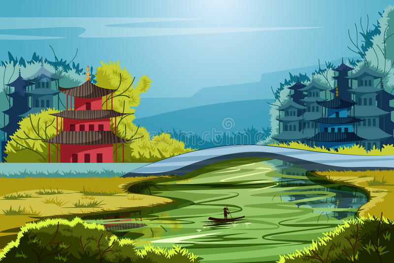 Härligt sceniskt landskap av lantliga Kina royaltyfri illustrationer