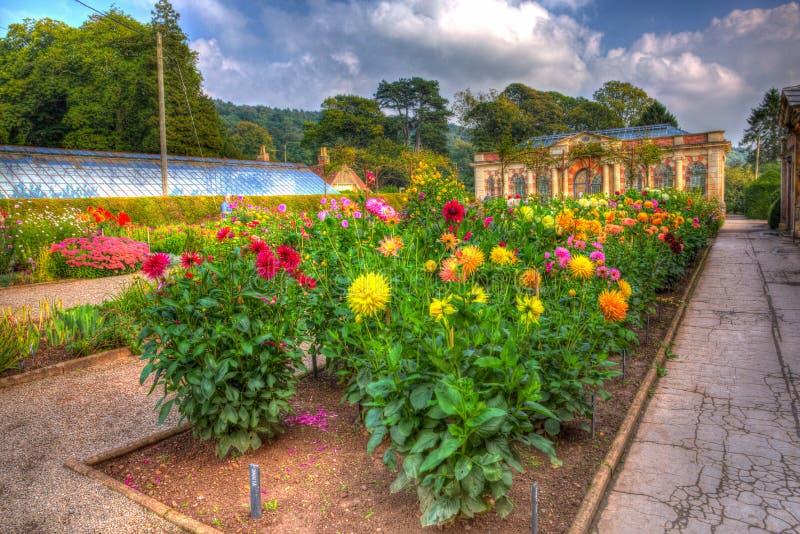Härligt September solsken och värme väder drog besökare till trädgårdarna på det Tyntesfield huset, Wraxhall, norr Somerset, Engl arkivbild