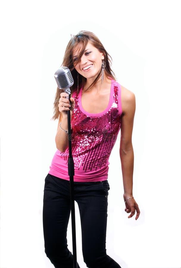 härligt sjunga för flicka arkivfoton