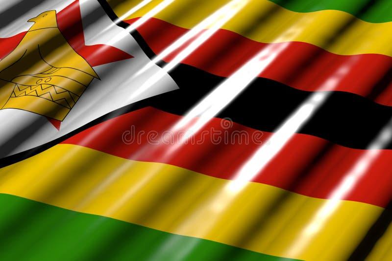 Härligt skinande - se som plast- flagga av Zimbabwe med stora veck lägga diagonalt - någon illustration för tillfälleflagga 3d stock illustrationer